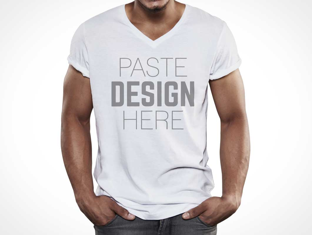 Male Model T Shirt Bundle PSD Mockup